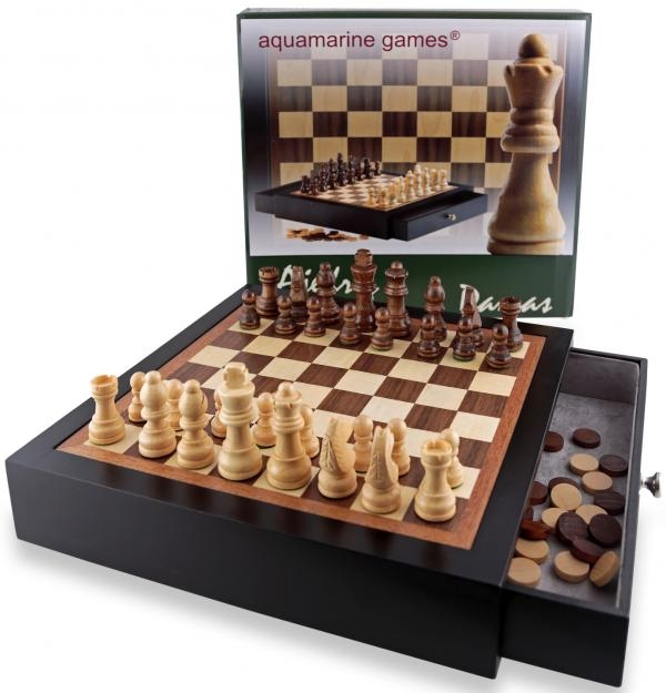CHESS AND CHECKERS IN BLACK WOODEN CASE